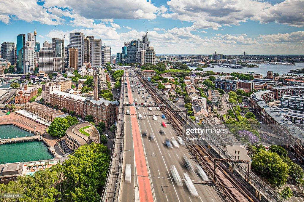 Traffic at Harbour Bridge in Sydney : Stock Photo