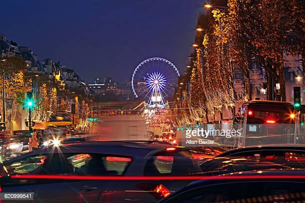 Traffic at night at Champs Elysees at Christmas