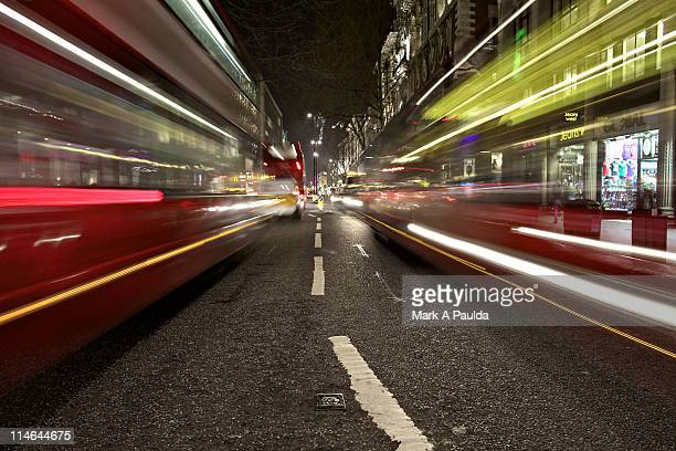 traffic at night, london - oxford street london stock pictures, royalty-free photos & images