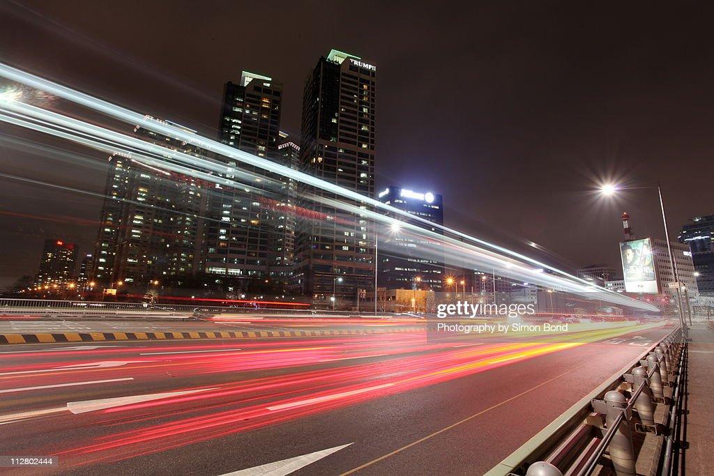 Traffic at night : Stock Photo
