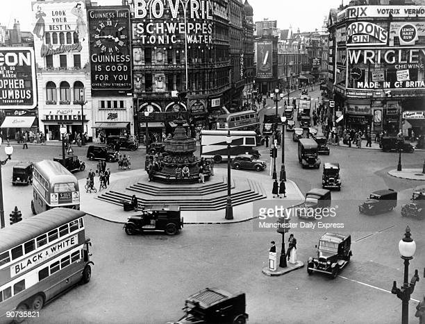 Traffic at Piccadilly Circus London 12 June 1949