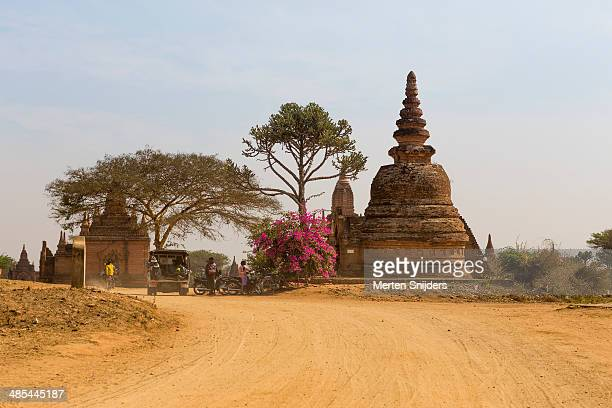 traffic at small pagoda on bagan plain - merten snijders 個照片及圖片檔
