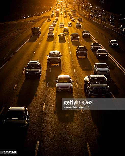 Traffic at Sunset on Expressway