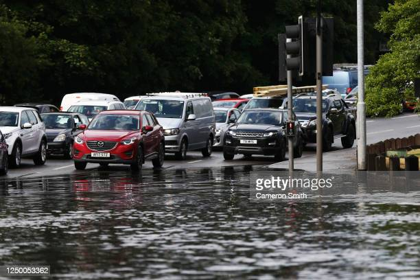 Traffic at the stewponey junction as flash flooding hits Stourbridge on June 16 2020 in Stourbridge England