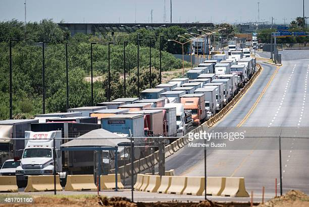 Traffic backs up along the route to the border crossing from Mexico to the US in Laredo as traffic is halted going from the US to Mexico for...