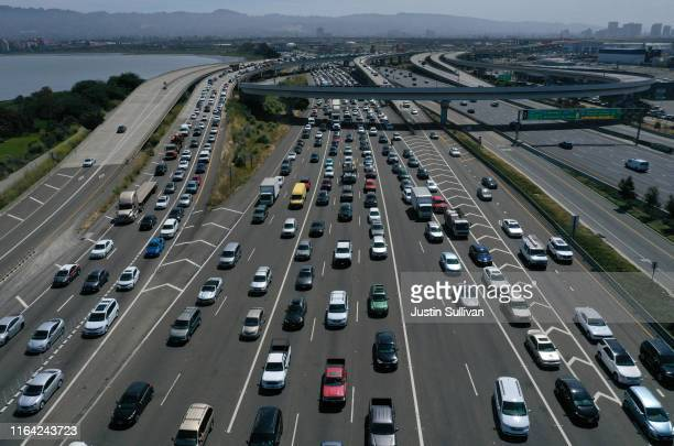 Traffic backs up at the San FranciscoOakland Bay Bridge toll plaza along Interstate 80 on July 25 2019 in Oakland California The State of California...