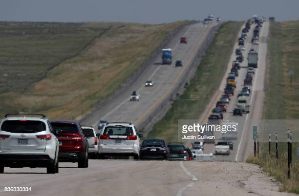 Traffic backs up on Highway 25 leaving Casper on August 21 2017 in Douglas Wyoming Millions of people have flocked to areas of the US that are in the...