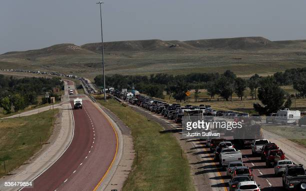 Traffic backs up on Highway 25 leaving Casper on August 21 2017 in Orin Wyoming Millions of people have flocked to areas of the US that are in the...