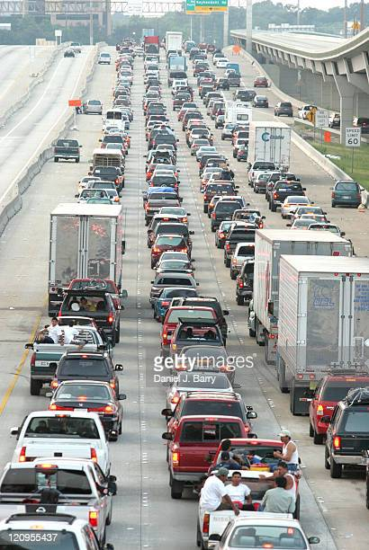 Traffic backs up on Interstate 45 in north Houston Thursday September 222005 Houston area residents jammed highways as they streamed inland as...