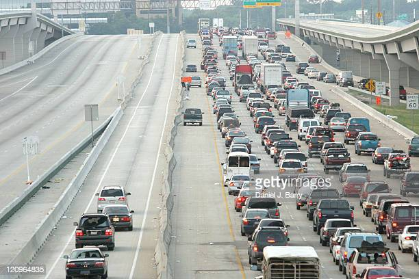 Traffic backs up on Interstate 45 north bound in north Houston Thursday September 222005 Houston area residents jammed highways as they streamed...