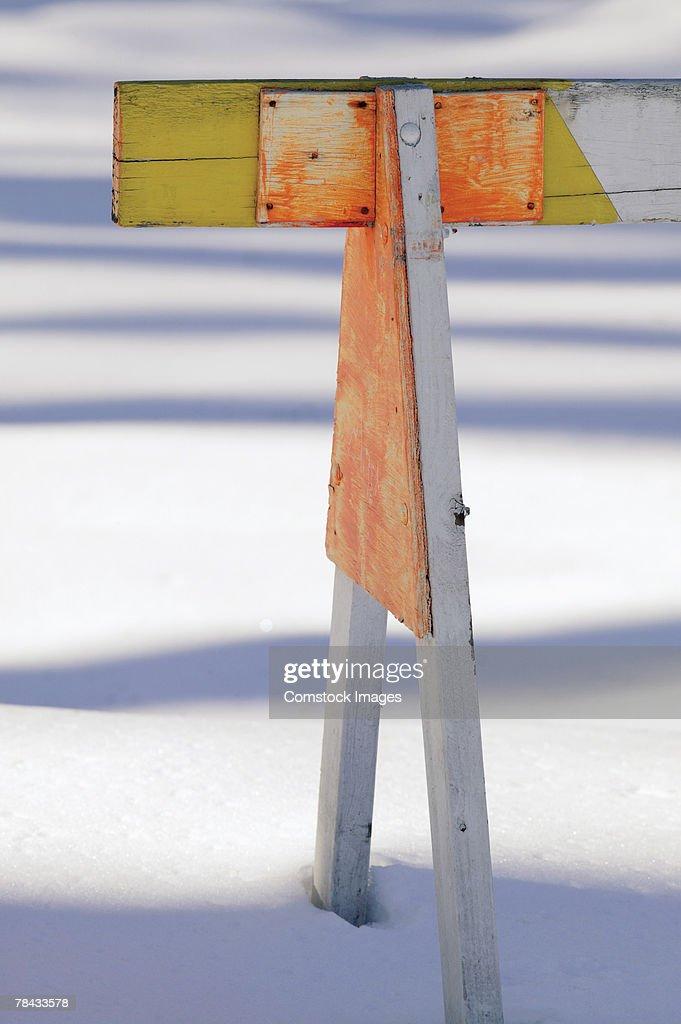 Traffic barricade in snow : Stock Photo