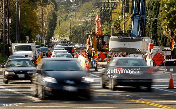 Traffic begins to back up looking South down Coldwater Canyon Avenue at Ventura Boulevard in Studio City Friday morning March 22 2013 Coldwater...