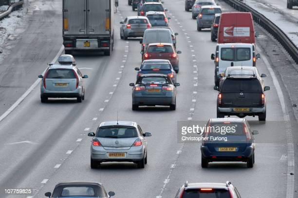Traffic begins to build up on the M6 motorway in Cheshire as people make their way home for the Christmas holidays on December 23 2010 in Knutsford...
