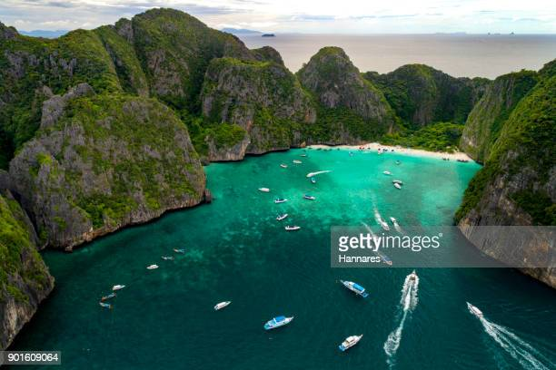 traffic boat - phi phi islands stock-fotos und bilder