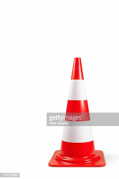 traffic bollard/cone on white background with copy - traffic cone stock pictures, royalty-free photos & images