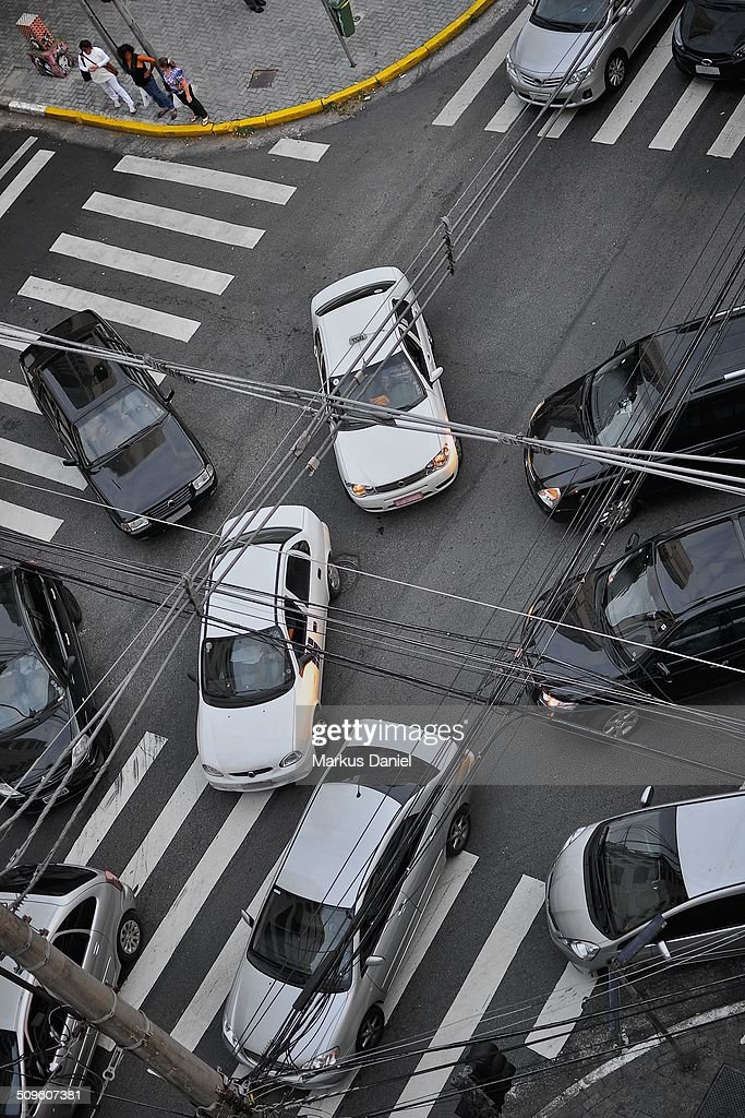 Traffic chaos at intersection in Sao Paulo : Stock Photo