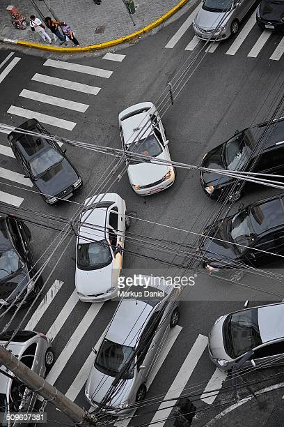 Traffic chaos at intersection in Sao Paulo