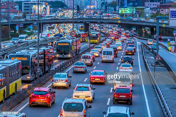 traffic chaos background at night - traffic stock pictures, royalty-free photos & images