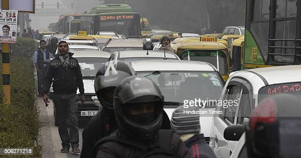 Traffic chaos caused due to the cycle rally from Delhi University to mark Delhi's 4th carfree day on January 22 2016 in New Delhi India