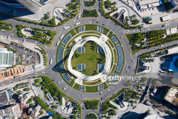 traffic circle and connecting roads - hubei province stock pictures, royalty-free photos & images
