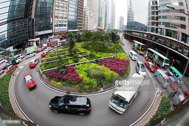 Traffic Circle in Down Town Hong Kong