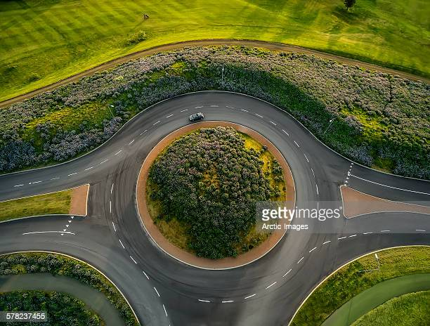 Traffic circle next to golf course, Reykjavik