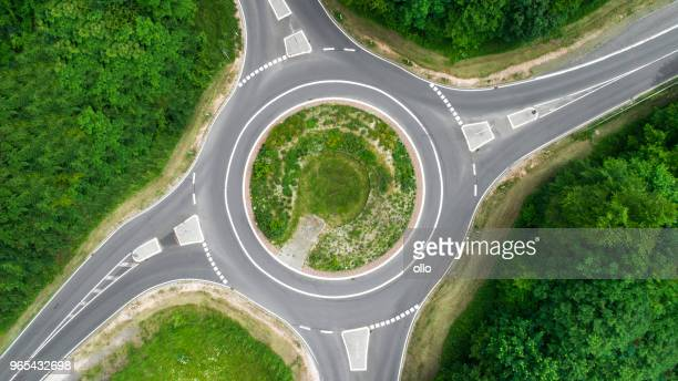 Traffic circle, roundabout - aerial view