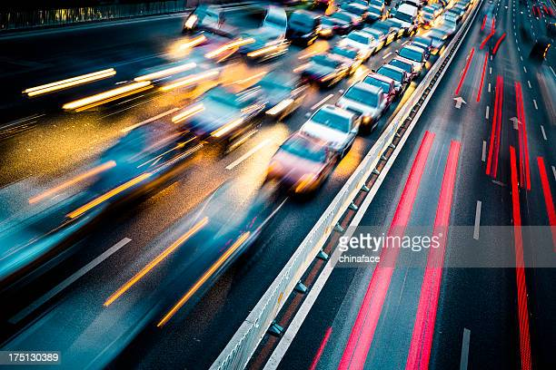 traffic city night - motion blur stock photos and pictures