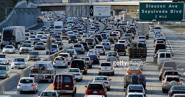 Traffic comes to a stand still on the northbound and the southbound lanes of the Interstate 405 freeway near Los Angeles International Aiprort on...