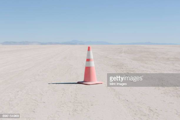 Traffic cone in vast desert, Black Rock Desert, Nevada