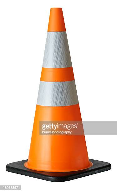 traffic cone, isolated on white - cone shape stock photos and pictures