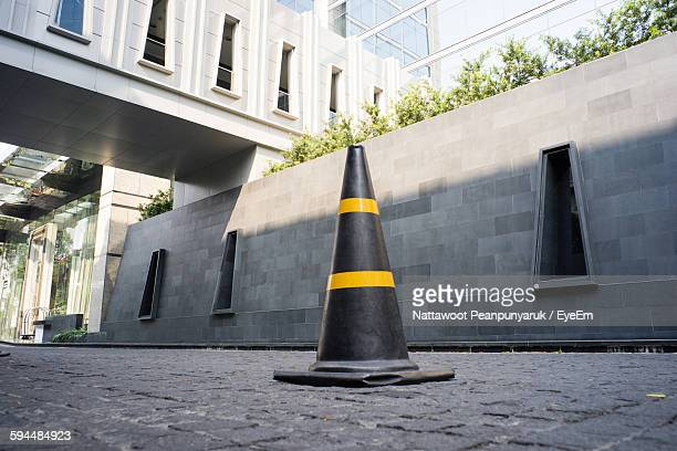 Traffic Cone On Street By Building