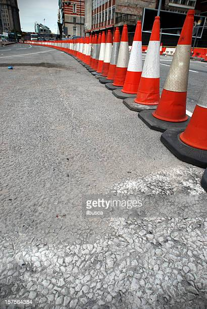 traffic cone roadworks perspective - traffic cone stock pictures, royalty-free photos & images