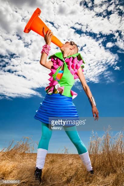 traffic cone scream surreal fashion - mlenny photography stock pictures, royalty-free photos & images