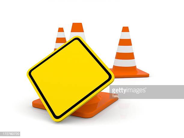 Traffic cone with blank sign