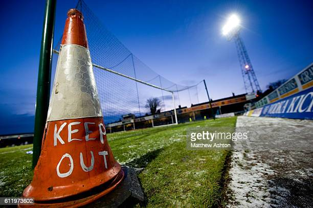 A traffic cone with KEEP OUT at Saltergate the home stadium of Chesterfield