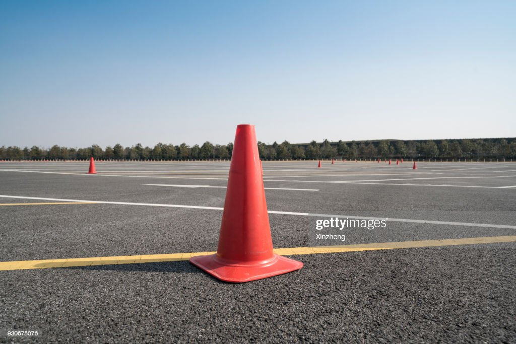 Traffic cone,an image of cautions on asphalt road : Stock Photo