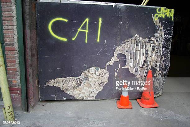 Traffic Cones Against Wall With Usa Map
