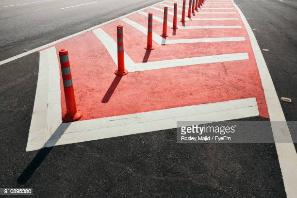 traffic cones arranged on road - traffic cone stock pictures, royalty-free photos & images