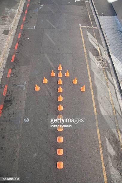 Traffic cones in arrow-shape
