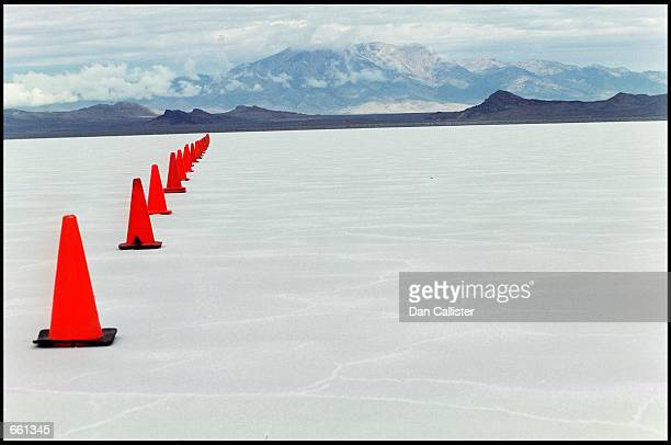 Traffic cones mark the edge of the raceway on the Bonneville Salt September 21 2000 in Utah The salt flats are the ideal home of land speed record...