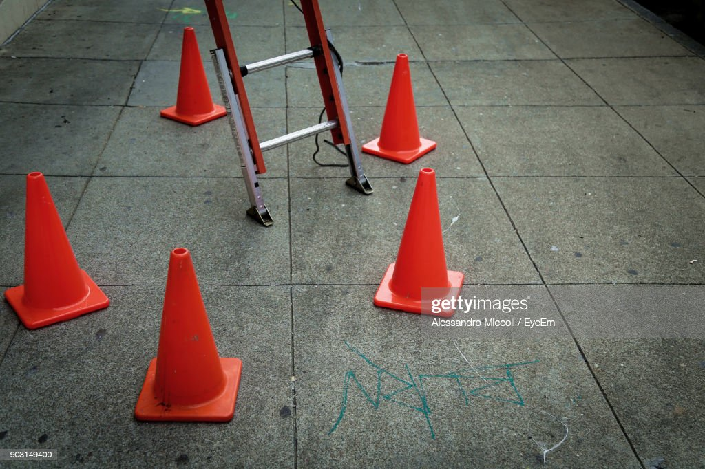 Traffic Cones On Footpath : Stock Photo