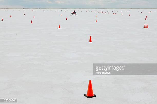 Traffic cones on race course, Bonneville Salt Flats, during Speed Week.