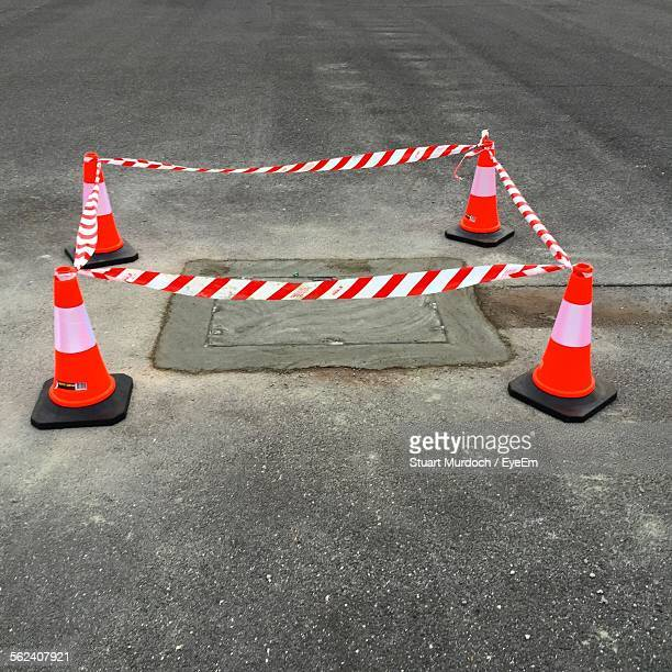 traffic cones on road - traffic cone stock pictures, royalty-free photos & images