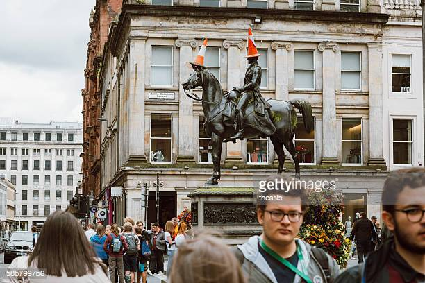 traffic cones on the duke of wellington statue, glasgow - theasis stock pictures, royalty-free photos & images