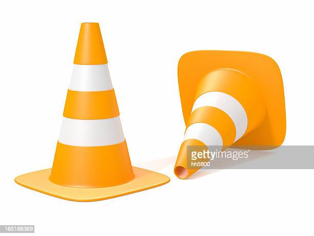 traffic cones - cone shape stock photos and pictures