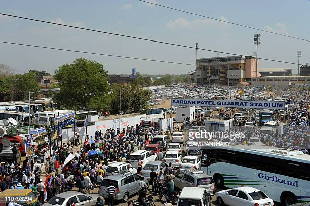 Traffic congestion builds up outside The Sadar Patel Gujarat Stadium Motera in Ahmedabad on March 24 as India face Australia in a ICC Cricket World...