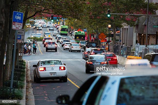 Traffic congestion is pictured in Bethesda Maryland during rush hour traffic on Tuesday October 18 2016 Traffic is pictured on Old Georgetown Rd near...