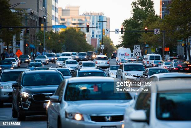 Traffic congestion is pictured in Bethesda Maryland during rush hour traffic on Tuesday October 18 2016 Traffic is pictured on Wisconsin Ave near Old...
