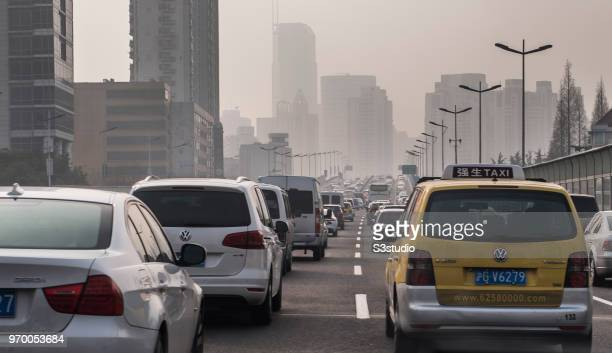 Traffic congestion on 30 January 2018 in Shanghai China as smog hovers the city Shanghai Air Pollution Index reaches 235 indicating heavy pollution